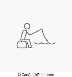 漁師, 線, 棒, icon., モデル