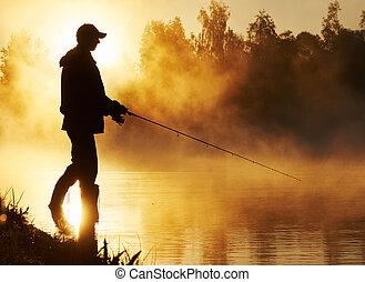 漁師, 釣り, 日の出, 霧が濃い
