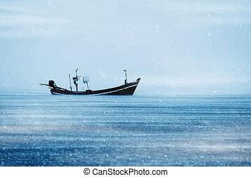 漁船, 上に, ∥, 海, ∥で∥, 積雪量, 中に, 冬, 色, tone.