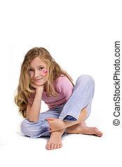 漂亮的女孩, 由于, 花, 蝴蝶, 構成, 在地板上坐