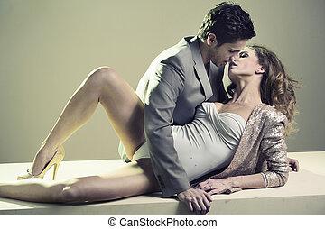 漂亮, 人, 親吻, 他的, 愛人, 女朋友