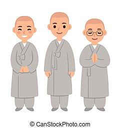 漂亮, 佛教徒, 卡通, 修士