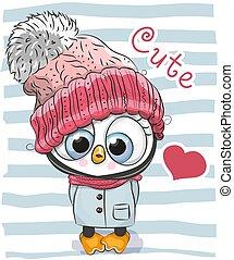 漂亮, 卡通漫画, 企鹅, 女孩, 在中, a, 帽子