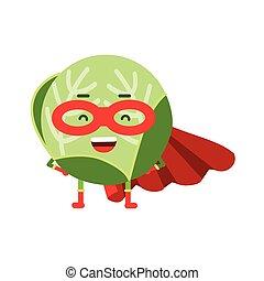 漂亮, 卡通漫画, 洋白菜, superhero, 在中, 伪装, 同时,, 红的海角, 色彩丰富, humanized, 蔬菜, 性格, 矢量, 描述
