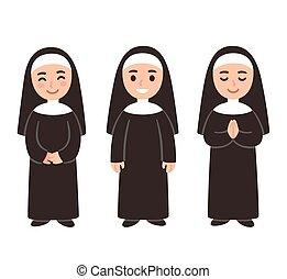 漂亮, 卡通, 修女, 集合