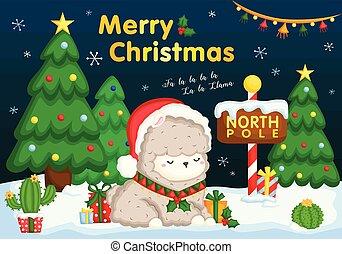 漂亮, 坐, 很多, 雪, 禮物, 圍攏, 矢量, 美洲駝, 卡片