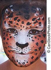 漂亮, 女孩, 孩子, 臉, 由于, 繪, 豹, 顏色, 面罩