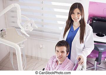 漂亮, 女性, 牙醫, 由于, a, 病人