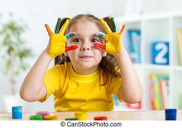 漂亮, 她, 手, 有, 孩子, 乐趣, 绘画
