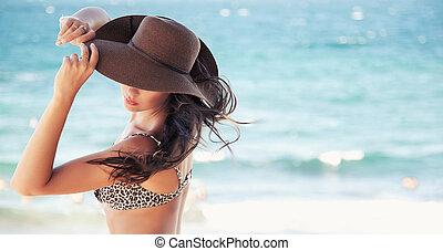 漂亮, 婦女, 在, 帽子