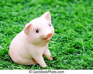 漂亮, 嬰孩, 微笑, 豬, 黏土, 玩偶, 在, a, 草