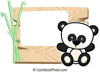 漂亮, 嬰孩, 熊貓, 框架
