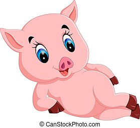 漂亮, 嬰孩, 豬, 卡通