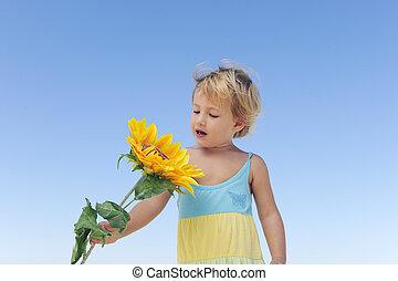 漂亮, 孩子, 由于, 向日葵