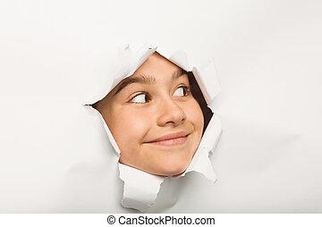 漂亮, 小女孩, 偷看, 透過, 紙