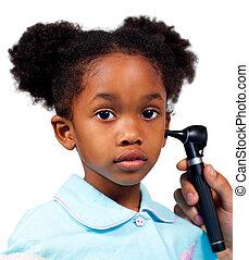 漂亮, 小女孩, 在, a, 醫學, 訪問