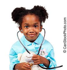 漂亮, 小女孩, 玩, 由于, a, 聽診器