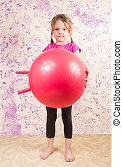 漂亮, 小女孩, 由于, 体操球