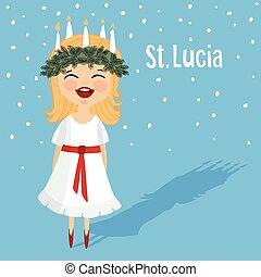 漂亮, 小女孩, 由于, 花冠, 以及, 蠟燭, 王冠, 聖徒, lucia., 瑞典語, 聖誕節,...