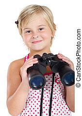 漂亮, 小女孩, 由于, 雙筒望遠鏡