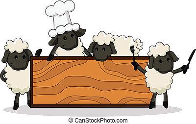 漂亮, 小羊, 烹调, 带, 多样化, charac