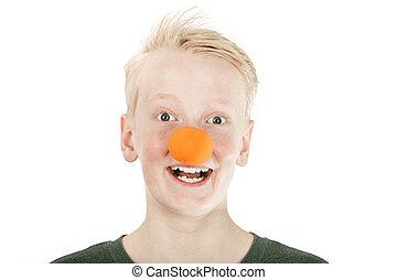 漂亮, 年輕, 青少年男孩, 穿, a, 小丑, 鼻子