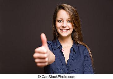漂亮, 年輕, 黑發淺黑膚色女子, 顯示, 大, 拇指, 向上。