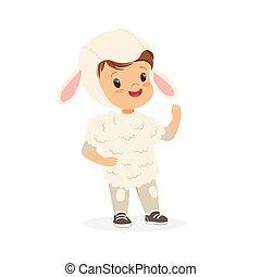 漂亮, 很少, 孩子, 小羊, 狂歡節, 男孩, 被給穿衣, 插圖, 矢量, 服裝, 白色
