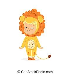 漂亮, 很少, 孩子, 狂歡節, 男孩, 被給穿衣, 崽, 插圖, 獅子, 矢量, 服裝, 愉快