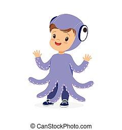 漂亮, 很少, 狂歡節, 紫色, 被給穿衣, 插圖, 矢量, 服裝, 孩子, 愉快, 章魚