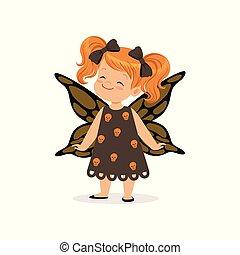 漂亮, 很少, 被給穿衣, 万圣節, 插圖, 矢量, 服裝, 女孩, 蝴蝶, 孩子