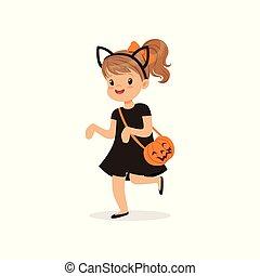 漂亮, 很少, 貓, 万圣節, 插圖, 矢量, 黑色, 服裝, 被給穿衣, 女孩, 孩子