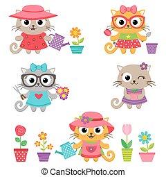 漂亮, 很少, 貓, 女孩, 由于, 園藝工具