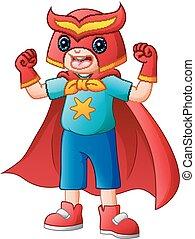 漂亮, 很少, superhero, 服裝, 男孩