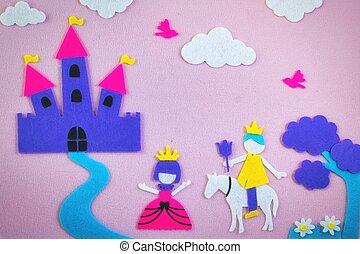 漂亮, 愛, 仙女, 感到, 場景, 公主, 故事, 幻想, 前面, 城堡, 王子