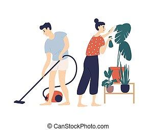 漂亮, 房子, 一起。, 家, 女孩微笑, 有趣, 地板, 年轻, 每天, 关心, plant., 套间, 妇女, 夫妇。, 真空, 打扫, 卡通漫画, 浪漫, 男孩, illustration., 拿, 矢量, 人, 活动