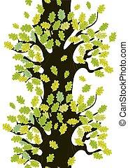 漂亮, 树, 离开, 橡木, seamless, 设计, 边界
