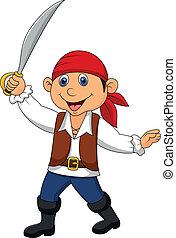 漂亮, 海盜, 孩子, 卡通