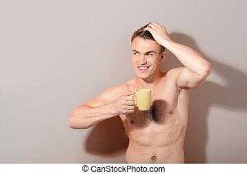 漂亮, 無頂, 人, 拿住杯子, ......的, 咖啡