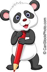 漂亮, 熊, 卡通, 藏品, 熊貓, 紅色