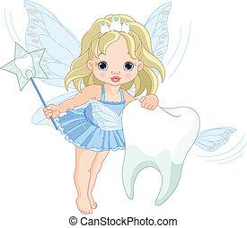 漂亮, 牙齒仙女, 飛行, 由于, 牙齒
