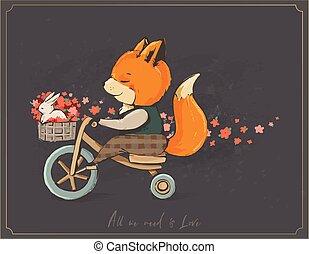 漂亮, 狐狸, 在一辆自行车上