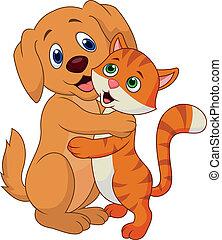 漂亮, 狗, 以及, 貓, 擁抱, 每一個, oth