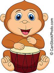 漂亮, 猴子, 卡通, 玩, 鼓