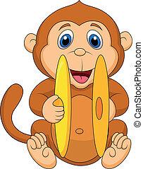 漂亮, 猴子, 卡通, 玩, cymbal
