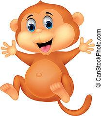 漂亮, 猴子, 卡通