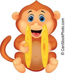 漂亮, 猴子, 卡通, palying, cymbal