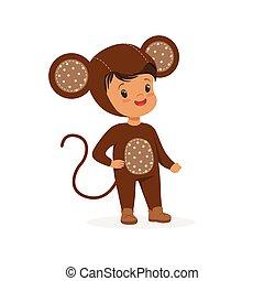 漂亮, 猴子, 孩子, 狂歡節, 男孩, 被給穿衣, 插圖, 矢量, 服裝, 愉快
