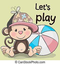 漂亮, 猴子, 由于, a, 球