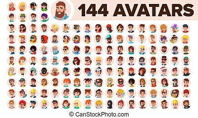 漂亮, 男性, 匿名, 图标, 人 , 人类, placeholder., female., avatar, woman...